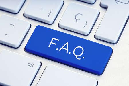 FAQ Word on blue computer Keyboard Key