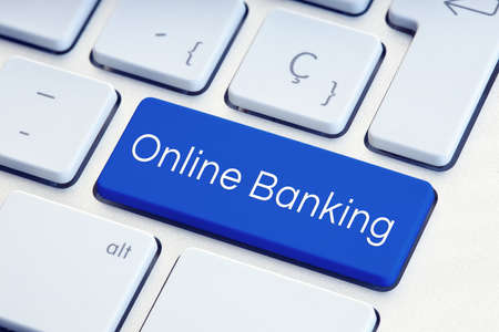 Online Banking Word on blue computer Keyboard Key Stock fotó