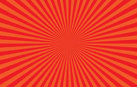 Vibrant Orange Sunburst Pattern Background. Ray star burst backdrop. Rays Radial geometric Vector Illustration