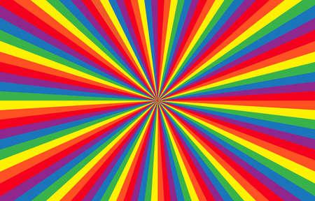 Vibrant rainbow Sunburst Background. LGBTQ flag Ray star burst backdrop. Vector Illustration