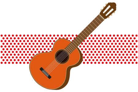 Classic spanish guitar Flat vector illustration