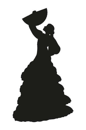 Silhouette of a woman Flamenco dancer with hand fan isolated on white background. Spanish culture. Flat vector illustration