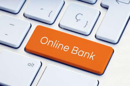 Online Bank Word on orange color Keyboard Key