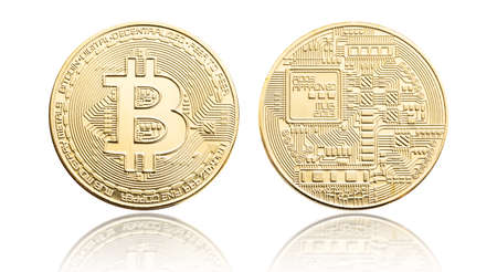 Bitcoin coin isolated on white background. Cryptocurrency 版權商用圖片