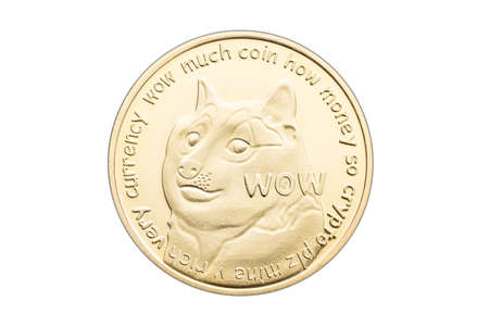 Dogecoin coin isolated on white background. Cryptocurrency 版權商用圖片