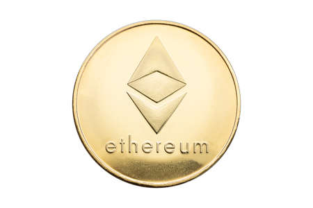 Ethereum coin isolated on white background. Cryptocurrency