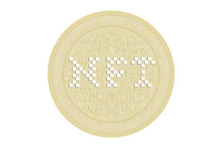 NFT or Non fungible token coin. Vector illustration