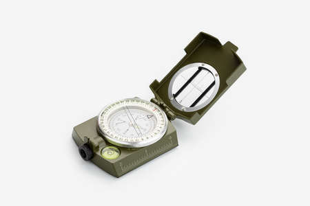 Tactical military compass isolated on white background. Guidance concept 版權商用圖片
