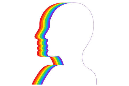 Fashion silhouetted head with LGBT flag isolated white. Flat vector illustration