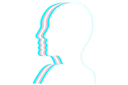 Fashion silhouetted head with transgender flag. Flat vector illustration