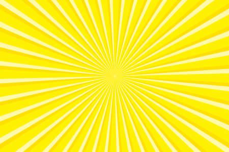 Vibrant Yellow Sunburst Pattern Background. Ray star burst backdrop. Rays Radial geometric Vector Illustration