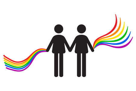 Two man icon holding Rainbow Gay flag. LGBTQ pride icon vector illustration