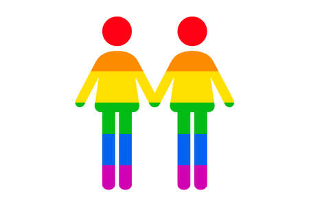 Two man icon Rainbow Gay flag isolated on white background. LGBTQ pride icon vector illustration 向量圖像