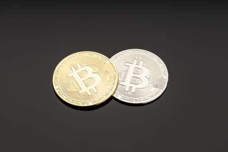 Bitcoin coin on dark background. Cryptocurrency blockchain money