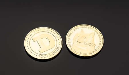 Dogecoin coin on dark background. Cryptocurrency blockchain money