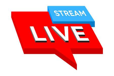 Live stream icon, button, symbol. Social media Speech bubble. Vector illustration