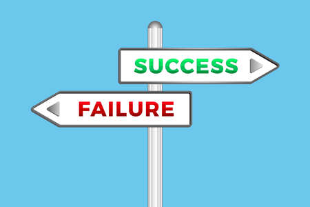 Success And Failure word on Signpost isolated on blue background. Vector illustration