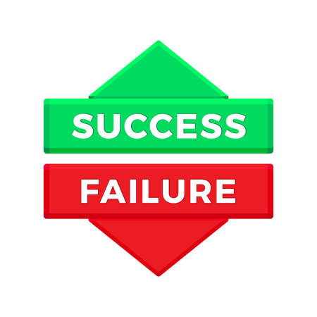 Success And Failure sign isolated on white background. Vector illustration