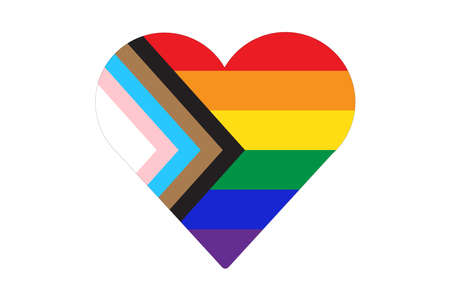 Heart shape icon of New pride flag LGBTQ . Redesign including Black, Brown, and trans pride stripes. Flat vector illustration