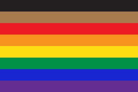 New pride flag LGBTQ background . Redesign including Black and Brown stripes. Flat vector illustration