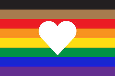 New pride flag LGBTQ with heart shape icon inside . Redesign including Black, Brown, and trans pride stripes. Flat vector illustration