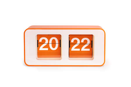 Retro Flip clock with 2022 number isolated on white background. New year concept