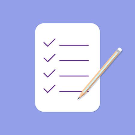 Checklist and Pencil Icon. Flat Design vector illustration 向量圖像