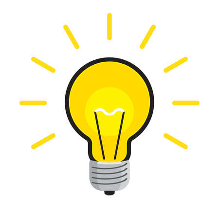 Bright Light Bulb Icon Isolated on White background. Flat vector illustration