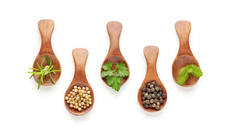 Set of spoons with different spices and culinary herbs isolated on white background. Top view