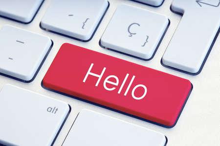 Hello word on computer Keyboard Key