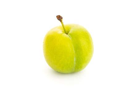 Fresh Greengage isolated on white background. Green yellow plum. Prunus domestica subsp. italica 版權商用圖片