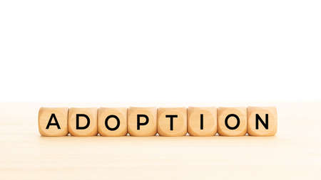 Adoption word on wooden blocks. Copy space. White background