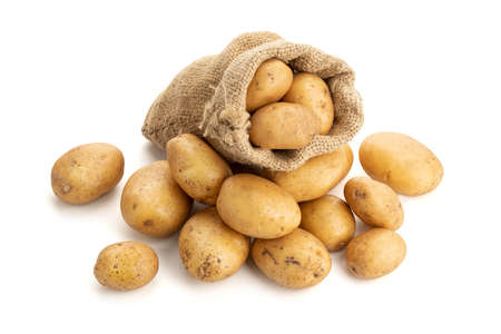 New potatoes in burlap sack isolated on white background. Raw potato 版權商用圖片