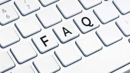 FAQ or Frequently Asked Questions word on modern computer Keyboard 版權商用圖片