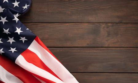 American flag on rustic wooden tabletop with copy space. Top view 版權商用圖片