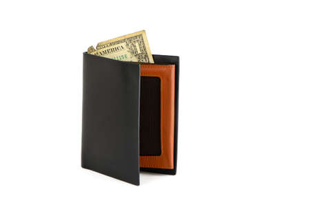 Black wallet and one dollar on a white background photo