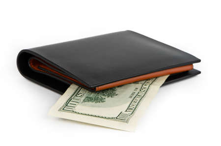 Black wallet and one hundred dollars on a white background photo