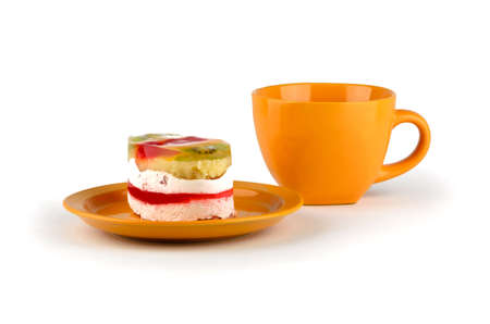 Exotic cake with citrus orange on a plate photo