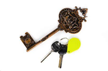Big and small key fob on a white background photo