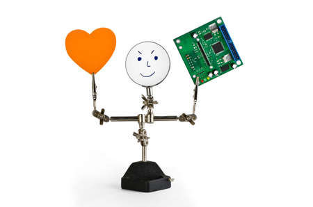 diodes: Card holder with lens, heart and circuit board on a white background Stock Photo