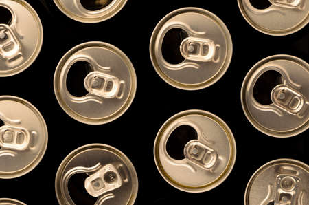 top view of open, aluminum cans photo