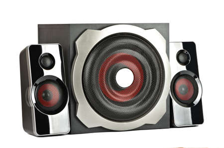 subwoofer: Speaker system with subwoofer on a white background
