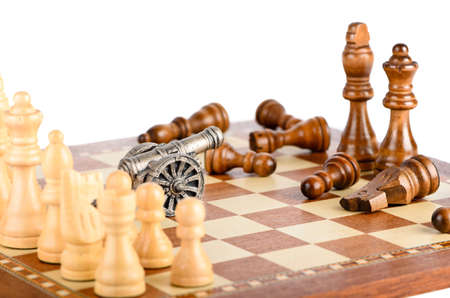 battling: The defeat of the black pieces on a chess board
