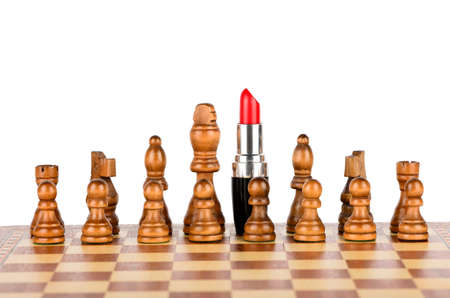 commanded: Red lipstick commanded chess