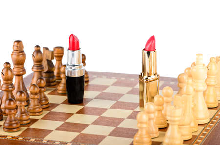Negotiations pieces on a chess board photo