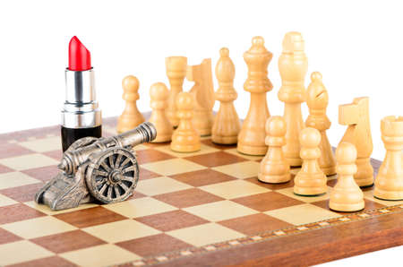 White chess pieces are defeated on the battlefield photo