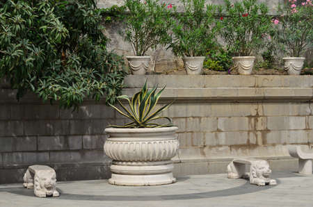 Marble benches in the park Stock Photo - 24633329