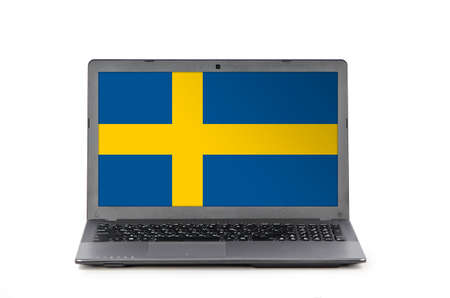 education in sweden: Grey laptop with flag of Sweden on a white background Stock Photo