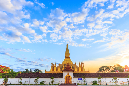 Pha That Luang temple in Vientiane, Laos, Lao P.D.R. Archivio Fotografico