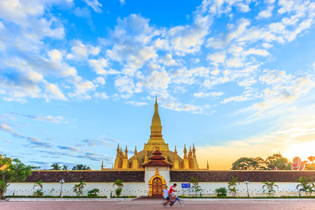Pha That Luang temple in Vientiane, Laos, Lao P.D.R. Stock Photo